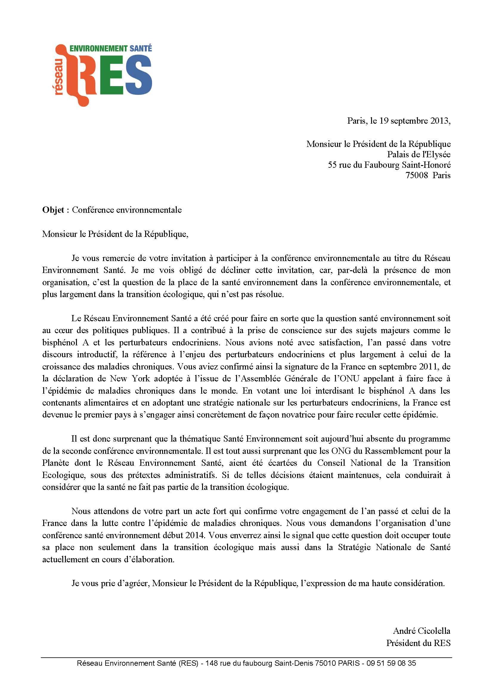 Le Res Demande Une Conférence Santé Environnement Réseau